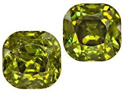 DMC078<br>Matched Pair Of Namibian Green Dragon Mine Demantoid Garnet 4.58ctw 7x7mm Square Cushion