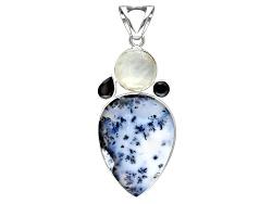 IDA142<br>Artisan Gem Collection Of India,Dendritic Opal,Moonstone,1.95ctw Black Spinel Silver Penda