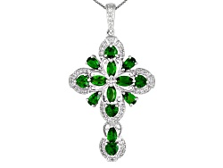 IRH144<br>3.56ctw Russian Chrome Diopside With .37ctw White Topaz Sterling Silver Cross Pendant With