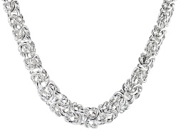 BSC881<br>Sterling Silver Graduated Flat Byzantine Link 18 Inch Necklace Made In Italy