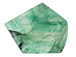 ESL036<br>Brazilian Emerald Min 104.50ct Mm Varies Free Form Polished Slice Shape, Color And Size Wi