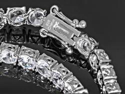 DOCZ691<br>13.25ctw Round White Zircon Sterling Silver Tennis Bracelet