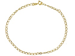 CNG246<br>10k Yellow Gold Oval Curb Link 9 Inch Plus 1 Inch Extender Anklet