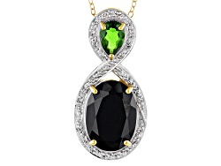 STZ769<br>7.39ctw Black Spinel,Chrome Diopside,White Topaz 18k Gold Over Silver Pendant With Chain