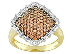 STZ776<br> .76ctw Vermelho Garnet(Tm) And .65ctw White Topaz 18k Gold Over Silver Ring