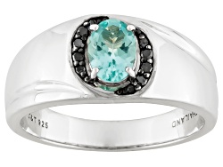 MJW267<br>.76ct Oval Blue Apatite With .05ctw Round Black Diamond Accent Sterling Silver Mens Ring