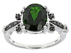 KDH019<br>2.65ct Oval Russian Chrome Diopside With .02ctw Round Black Diamond Accent Silver Ring