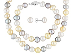 JPA154<br>8-9mm Cultured Freshwater Pearl Rhodium Over Silver 18 Necklace, 7 1/2 Bracelet, And Ear