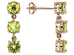 LLS257<br>2.72ctw Round Manchurian Peridot(Tm) 14k Rose Gold 3-stone Earrings