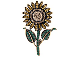 OPJ867<br>Off Park (R) Collection Multicolor Crystal Antiqued Gold Tone Sunflower Brooch