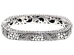 SRA272<br>Artisan Gem Collection Of Bali(Tm) Sterling Silver Filigree Hinged Bangle Bracelet