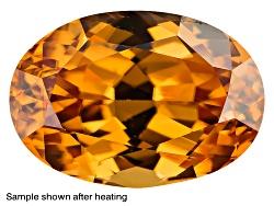 ZN021<br>Yellow Reserve Zircon Min 2.25ct 8x6mm Rectangular Octag Color Varies Caution: Heat Sensiti