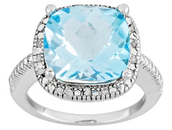 DOCY271<br>7.50ct Square Cushion Blue Topaz With .10ctw Round White Diamonds Sterling Silver Ring