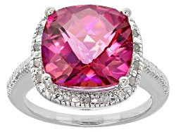DOCY277<br>6.00ct Square Cushion Pink Quartz With .10ctw Round White Diamonds Sterling Silver Ring