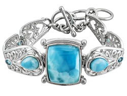 MXH319<br>Rectangular Cushion And Pear Shape Larimar With .49ctw Round Swiss Blue Topaz Silver Brace