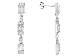 JPH083<br>2.16ctw Baguette And .56ctw Round White Zircon Sterling Silver Dangle Earrings