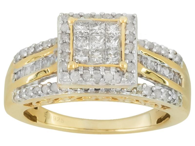 1 00ctw Round Princess Cut Amp Baguette Diamonds Engild Tm