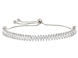 DOCKM6W<br>Bella Luce (R) 8.88ctw Marquise Rhodium Over Sterling Silver Bracelet (5.18ctw Dew)