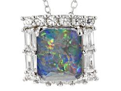 MXH563<br>10x8mm Rectangular Australian Opal Triplet , 1.14ctw White Zircon Silver Pendant With Chai