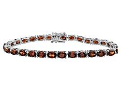 DOCY451<br>16.00ctw Oval Red Zircon Sterling Silver Line Bracelet