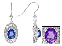 JPH574E<br>4.50ctw Oval Color Change Fluorite With 1.45ctw Round White Zircon Sterling Silver Dangle