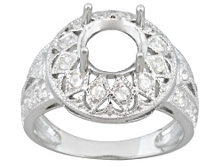 SMN018<br>Gemsavvy Nostalgia(Tm)8mm Round With .24ctw Round White Zircon Sterling Semi Mount Not Siz