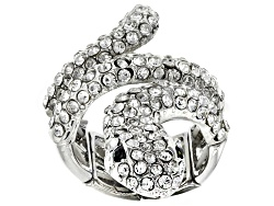 OPJ1019<br>Off Park (R) Collection Round White Crystal Silver Tone Snake Stretch Ring