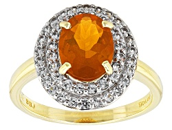 REW033<br>1.06ct Oval Mexican Fire Opal And .41ctw Round White Zircon 10k Yellow Gold Ring