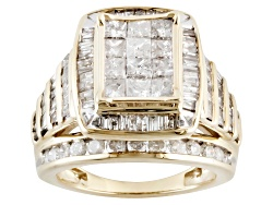 IDG088Y<br>2.50ctw Round, Baguette And Princess Cut White Diamond 10k Yellow Gold Quad Ring