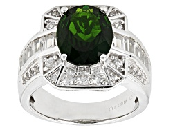 TEH202<br>2.17ct Oval Chrome Diopside With 1.27ctw Baguette And Round White Zircon Sterling Silver R