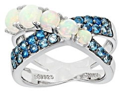 OCH178<br>.85ctw Round Ethiopian Opal With .71ctw Round London Blue Topaz Sterling Silver Crossover