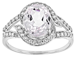 OCH548<br>3.68ct Oval Kunzite And .50ctw Round White Zircon Sterling Silver Ring