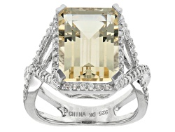 OCH566<br>5.31ct Emerald Cut Yellow Labradorite And .24ctw Round White Zircon Sterling Silver Ring