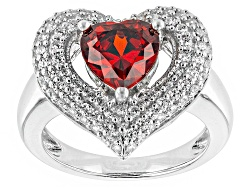 BJO902<br>Bella Luce (R) 4.10ctw Ruby And White Diamond Simulants Rhodium Over Sterling Silver Ring
