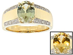ZUL030<br>1.50ct Oval Zultanite(R) And .06ctw Round White Diamond Accent 14k Yellow Gold Gent's Ring