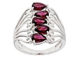 DJH336<br>2.38ctw Pear Shape Raspberry Rhodolite Sterling Silver 5-stone Ring