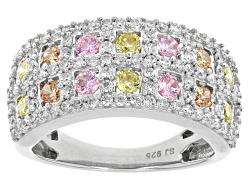 BJO979<br>Bella Luce (R) 3.13ctw Multi-color Diamond Simulant Rhodium Over Sterling Silver Ring (1.4