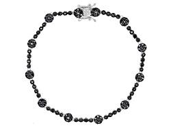 DOCY913<br>1.37ctw Round Black Spinel Sterling Silver Bracelet