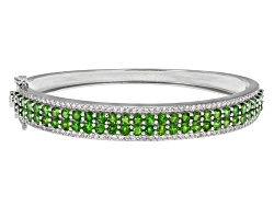 DOCY995<br>7.65ctw Round Russian Chrome Diopside And .70ctw Round White Zircon Sterling Silver Bangl