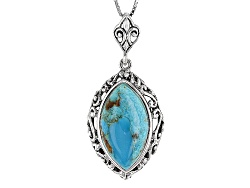 JCH115<br>22x12mm Marquise Cabochon Blue Turquoise Sterling Silver Pendant With Chain