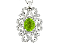 JCH146<br>3.23ct Oval Manchurian Peridot(Tm) With 1.64ctw Round White Topaz Sterling Silver Pendant