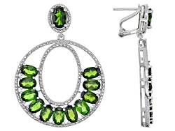 DOCX018<br>10.44ctw Oval Russian Chrome Diopside Sterling Silver Dangle Earrings