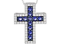 BJQ062<br>Bella Luce(R)3.49ctw Sapphire & Diamond Simulants Rhodium Over Sterling Cross Pendant & Ch