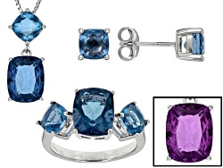 JCH232<br>10.18ctw Rectangular Cushion And Square Cushion Color Change Blue Fluorite Silver Jewelry