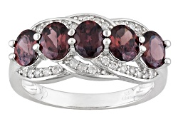 DOCX107<br>2.66ctw Oval Red Zircon And .26ctw Round White Zircon Sterling Silver 5-stone Band Ring
