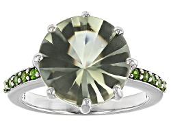 BCH237<br>5.00ct Round Prasiolite And .14ctw Round Russian Chrome Diopside Sterling Silver Ring