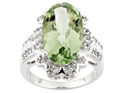 BCH350<br>7.25ct Oval Criss-cross Cut Prasiolite With .38ctw Round White Topaz Sterling Silver Ring