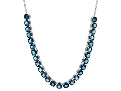 BCH406<br>24.82ct Round London Blue Topaz Sterling Silver Necklace