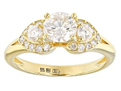 MSN973<br>Moissanite Fire(R) 1.18ctw Dew Round 14k Yellow Gold Over Sterling Silver Ring