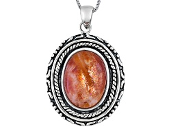 SMH189<br>18x13mm Oval Sunstone Cabochon Sterling Silver Pendant With Chain